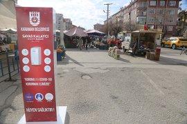 Karaman Belediyesi Şehrin Farklı Bölgelerine Dezenfektan Noktaları Yerleştirdi