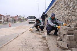 Karaman Belediyesi Orta Refüj Çalışmaları Devam Ediyor