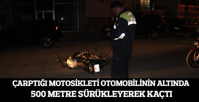 Otomobil Motosiklete Çarptı ve Kaçtı