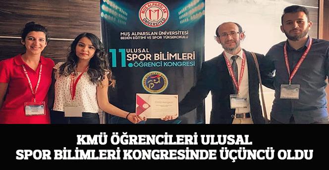 KMÜ Öğrencileri Ulusal Spor Bilimleri Kongresinde Üçüncü Oldu