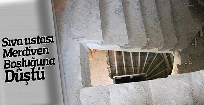 Karaman'da merdiven boşluğuna düşen sıva ustası yaralandı