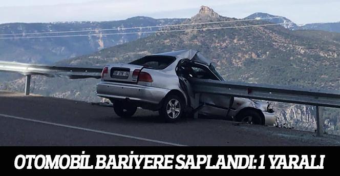 Karaman'da Otomobil Bariyere Saplandı: 1 Yaralı