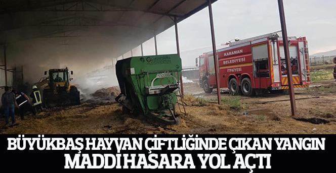 Büyükbaş hayvan çiftliğinde çıkan yangın maddi hasara yol açtı