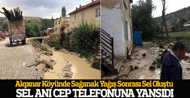 Karaman'da yaşanan sel anı cep telefonuna yansıdı