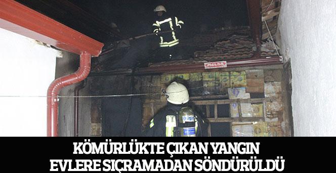 Kömürlükte çıkan yangın evlere sıçramadan söndürüldü