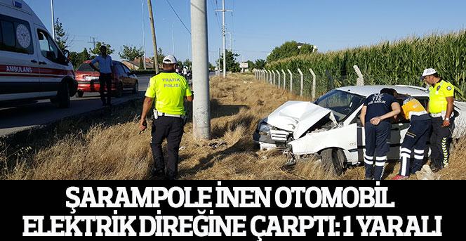 Karaman'da şarampole inen otomobil elektrik direğine çarptı: 1 yaralı