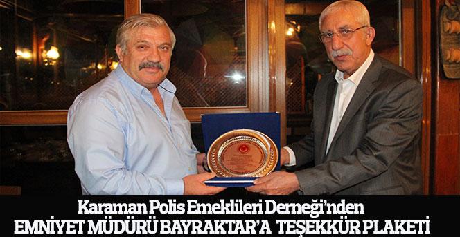 Karaman Polis Emeklileri Derneği'nden emniyet müdürü Bayraktar'a plaket