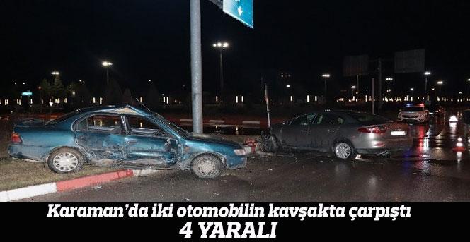 İki otomobil kavşakta çarpıştı; 4 Yaralı