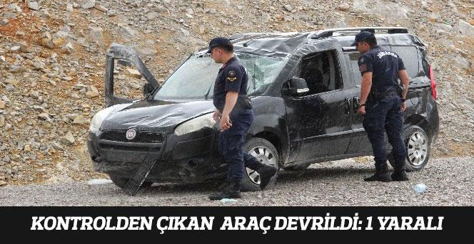 Karaman'da Kontrolden Çıkan Hafif Ticari Araç Devrildi: 1 Yaralı