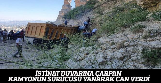 İstinat Duvarına Çarpan Kamyonun Sürücüsü Yanarak Can Verdi