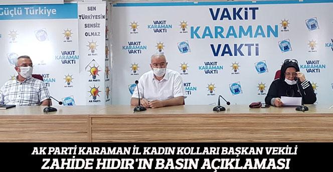 AK Parti İl Kadın Kolları Başkan Vekili Hıdır'ın Basın Açıklaması