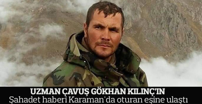 Şehidin şahadet haberi Karaman'da oturan eşine ulaştı