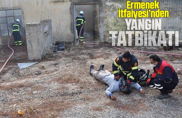 Ermenek Belediyesi İtfaiye ekiplerinden yangın tatbikatı