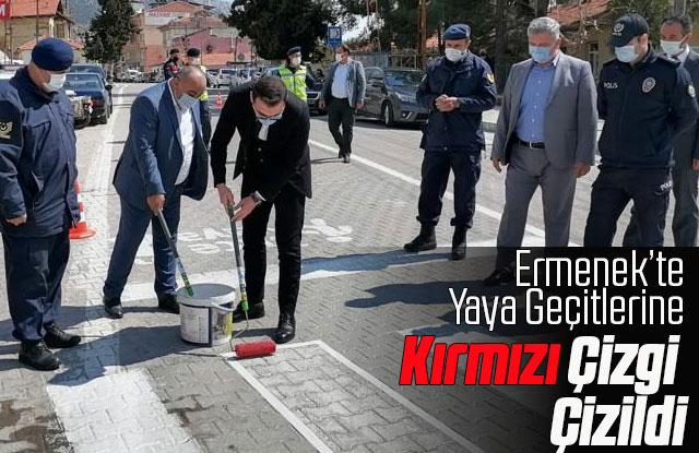 Ermenek'te Yaya Geçitlerine Kırmızı Çizgi Çizildi