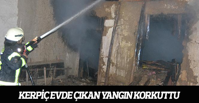 Kerpiç Evde Çıkan Yangın Korkuttu