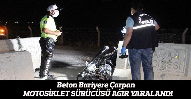 Beton Bariyere Çarpan Motosiklet Sürücüsü Ağır Yaralandı