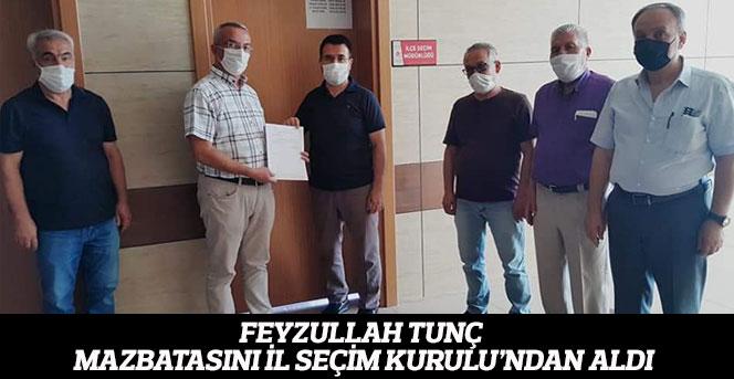 Feyzullah Tunç Mazbatasını İl Seçim Kurulu'ndan Aldı.