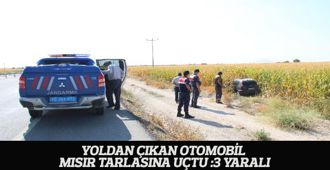 Yoldan Çıkan Otomobil Mısır Tarlasına Uçtu: 3 Yaralı