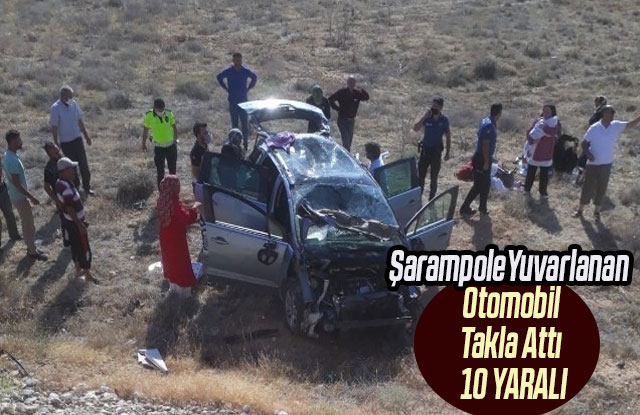 Şarampole Yuvarlanan Otomobil Takla Attı :10 Yaralı
